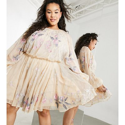 ASOS EDITION Curve floral beaded mesh dress with balloon sleeve-Pink