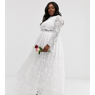 ASOS EDITION Curve Grace lace crop top wedding dress-White