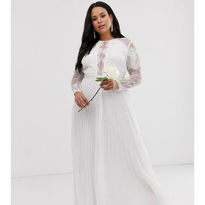 ASOS EDITION Curve long sleeve lace bodice maxi wedding dress with pleated skirt-White
