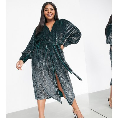 ASOS EDITION Curve sequin wrap midi dress in forest green