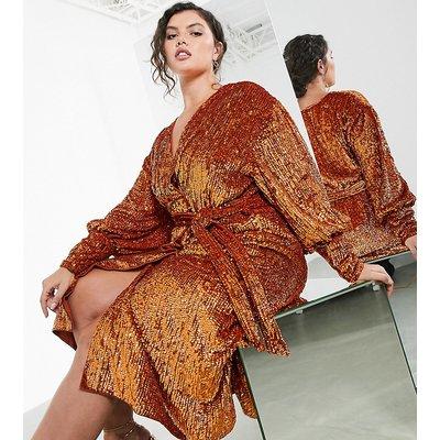 ASOS EDITION Curve sequin wrap midi dress in rust-Orange
