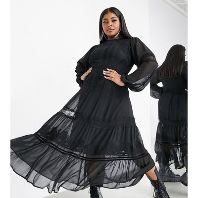 ASOS EDITION Curve tiered maxi dress with applique embroidery-Black