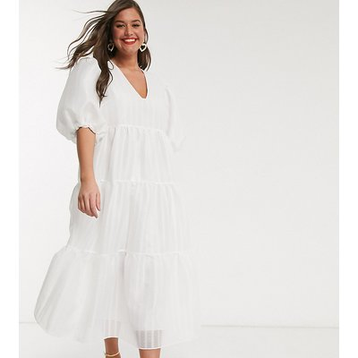 ASOS EDITION Curve tiered midi smock dress in textured stripe-White