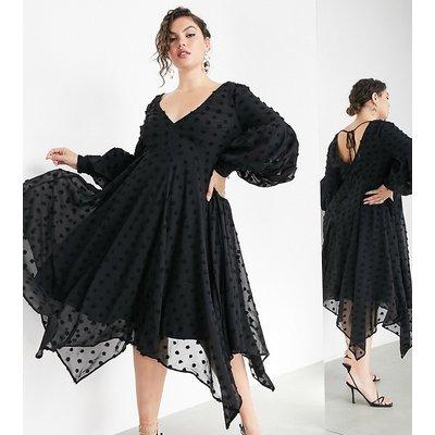 ASOS EDITION Curve volume sleeve midi dress in textured spot-Black