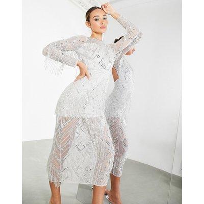 ASOS EDITION cutwork fringe midi dress in silver