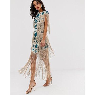 ASOS EDITION embroidered midi fringe dress-Multi