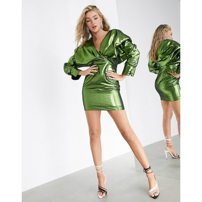 ASOS EDITION extreme shoulder metallic cocktail dress-Green