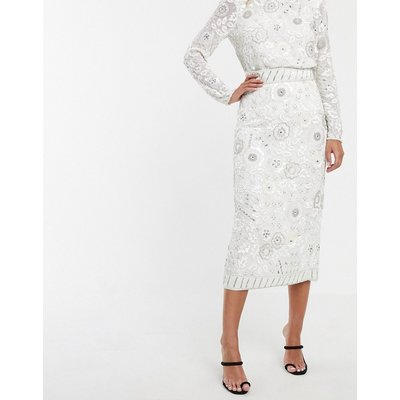 ASOS EDITION floral embellished midi pencil skirt-White