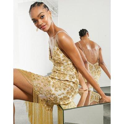 ASOS EDITION floral sequin fringe cami midi dress in gold