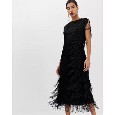 ASOS EDITION fringe column midi dress-Black