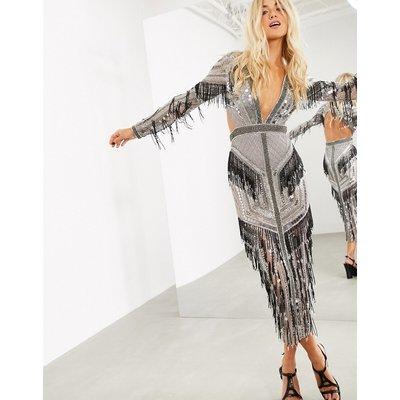 ASOS EDITION graphic beaded fringe plunge midi dress-Grey