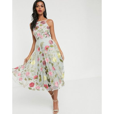 ASOS EDITION halter neck floral embroidered midi dress-Multi