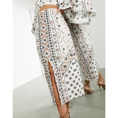 ASOS EDITION mosaic embroidered pencil skirt in white-Multi