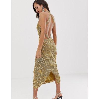 ASOS EDITION sequin fringe cutout bodycon midi dress-Gold