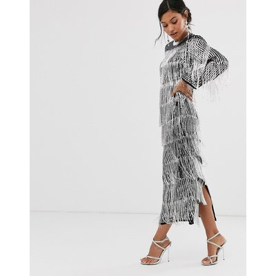 ASOS EDITION sequin & fringe midi tunic dress-Silver