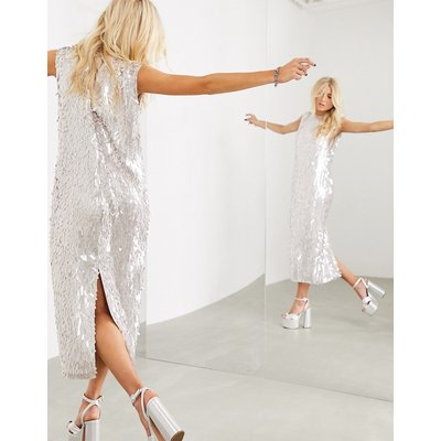 ASOS EDITION sleeveless midi shift dress in linear sequin-Silver