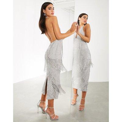 ASOS EDITION super plunge embellished fringe midi dress-Silver