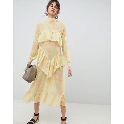 ASOS WHITE Printed Chiffon Maxi Dress-Yellow