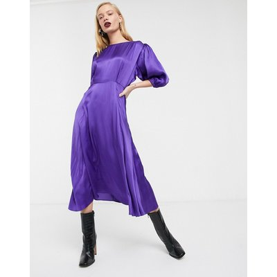 ASOS WHITE satin puff sleeve midi tea dress-Purple