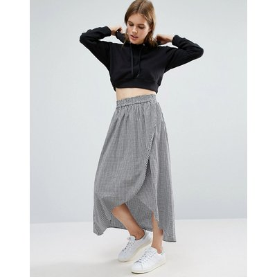 ASOS DESIGN wrap maxi skirt in gingham-Multi