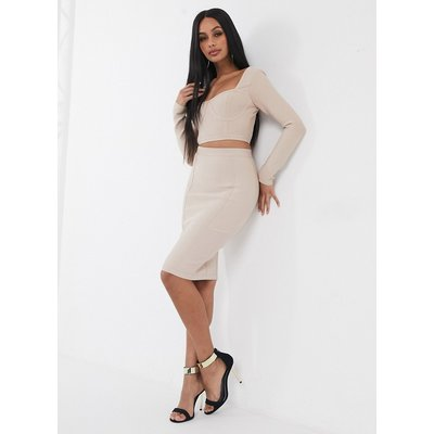 Band Of Stars bandage pencil skirt co-ord in biscuit-Brown
