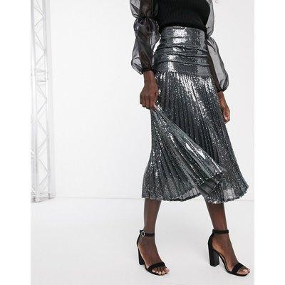 Bardot pleated maxi skirt in gunmetal grey
