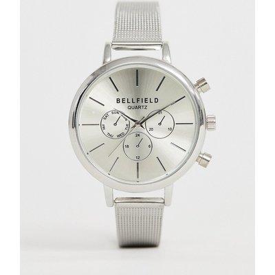 Bellfield – Damen-Chronograph mit stahlgrauem Armband in Netzoptik