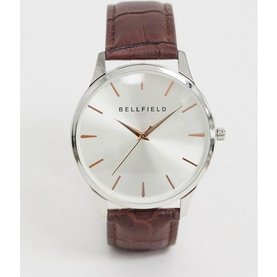 Bellfield – Herrenarmbanduhr mit goldenen Index-Anzeigern und braunem Armband