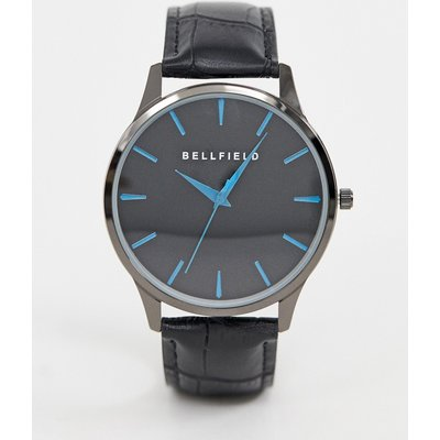 Bellfield – Herrenuhr mit schwarzem Zifferblatt und Strichmarkierungen in Blau-Metallic