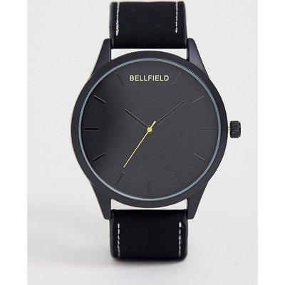 Bellfield – Schwarze Herrenarmbanduhr mit schwarzem Zifferblatt