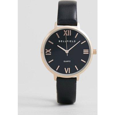 Bellfield - Uhr mit Gehäuse in Roségold und schwarzem Armband
