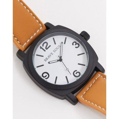 Brave Soul – Braune Uhr mit weißem Zifferblatt