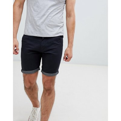 Brave Soul – Chino-Shorts mit kontrastierendem Umschlag-Navy