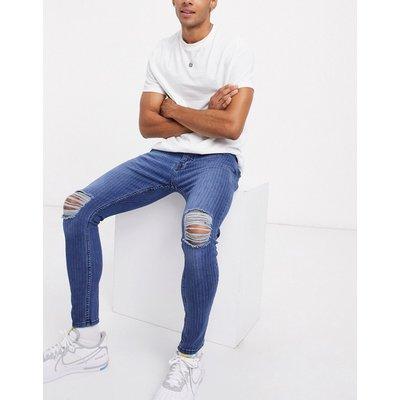 Brave Soul – Enge Jeans mit Zierrissen und Nadelstreifen-Blau