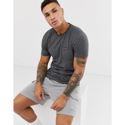 Brave Soul – Garngefärbtes T-Shirt mit gestreifter Tasche-Grau