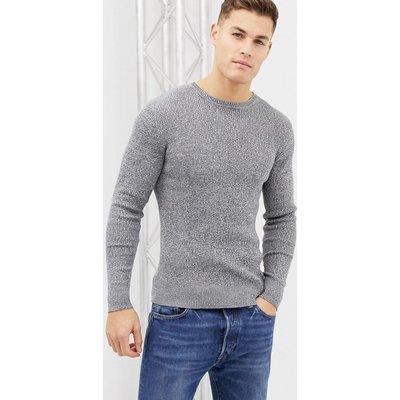 Brave Soul – Gerippter, elastischer Pullover in Muskelform aus 100% Baumwolle mit Rollkragen-Grau
