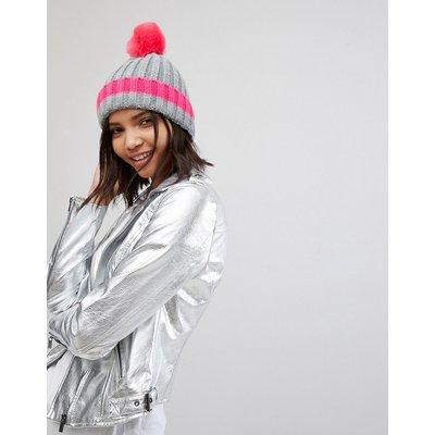 Brave Soul – Gerippter Hut mit Bommel und kontrastierenden Zierstreifen in Pink-Grau