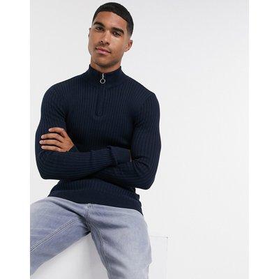 Brave Soul – Gerippter Muskel-Strickpullover aus 100 % Baumwolle mit Stehkragen und kurzem Reißverschluss-Navy
