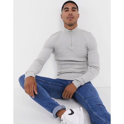 Brave Soul – Gerippter Muskel-Strickpullover aus 100 % Baumwolle mit Stehkragen und kurzem Reißverschluss-Grau
