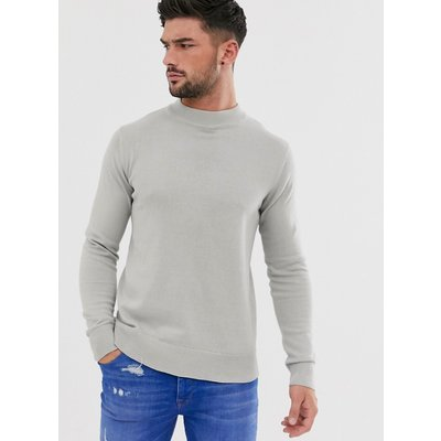 Brave Soul – Grauer Pullover aus 100% Baumwolle mit Stehkragen