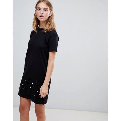 Brave Soul – Madge – T-Shirt mit Perlenverzierung-Schwarz