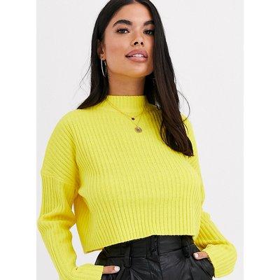 Brave Soul Petite – Adda – Kurz geschnittener, hochgeschlossener Pullover-Gelb