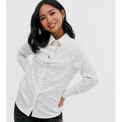 Brave Soul Petite – Shirley – Hemd mit Aufdruck-Weiß