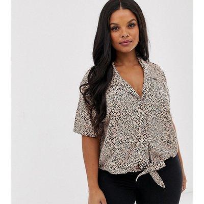 Brave Soul Plus – Hemd mit Bindedetail vorne und Leopardenmuster-Mehrfarbig