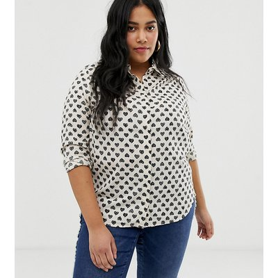 Brave Soul Plus – Hemd mit Herzmuster-Weiß