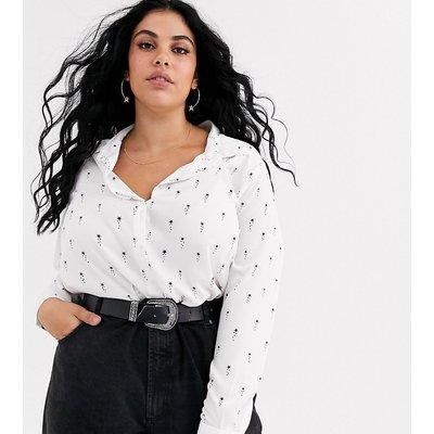 Brave Soul Plus – Hemd mit Sternprint-Weiß