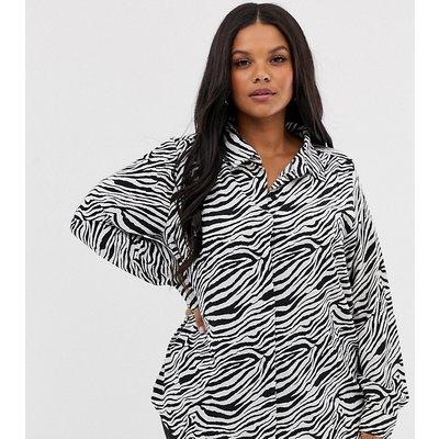 Brave Soul Plus – Huübsches Hemd mit Zebramuster-Mehrfarbig