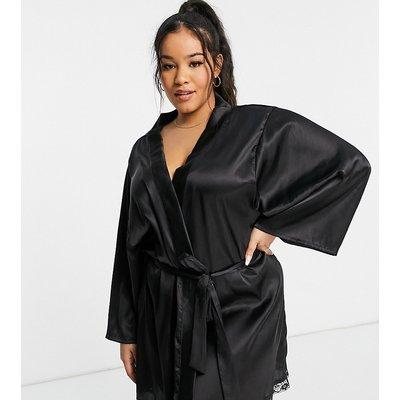 Brave Soul Plus – Kimono-Morgenmantel aus Satin in Schwarz | BRAVE SOUL SALE