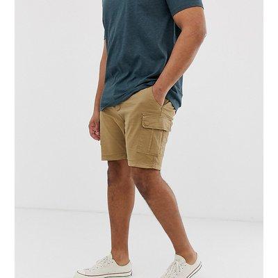 Brave Soul Plus – Marineblaue Cargo-Shorts in schlanker Passform-Steingrau