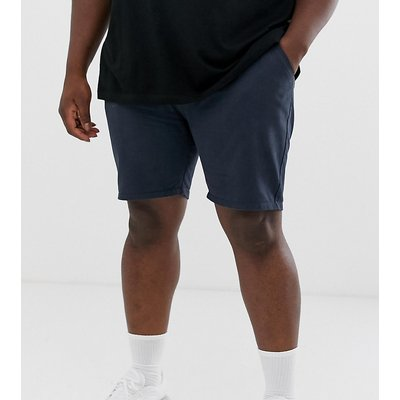 Brave Soul Plus – Schmal geschnittene Chino-Shorts in Navy